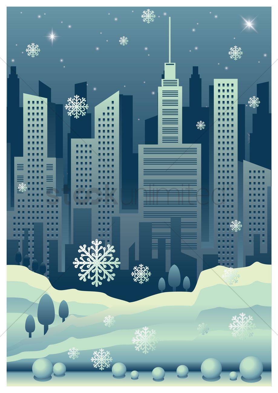 919x1300 Cityscape Poster With Snowfall Vector Image