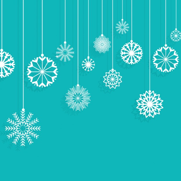 626x626 Snowflakes Hanging On A Turquoise Background Vector Free Download