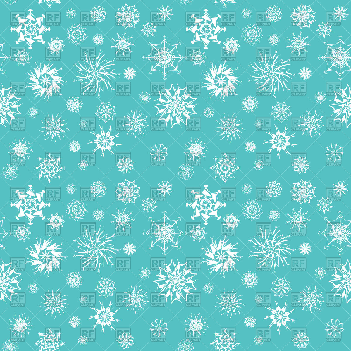 1200x1200 Different White Snowflakes Background Vector Image Vector