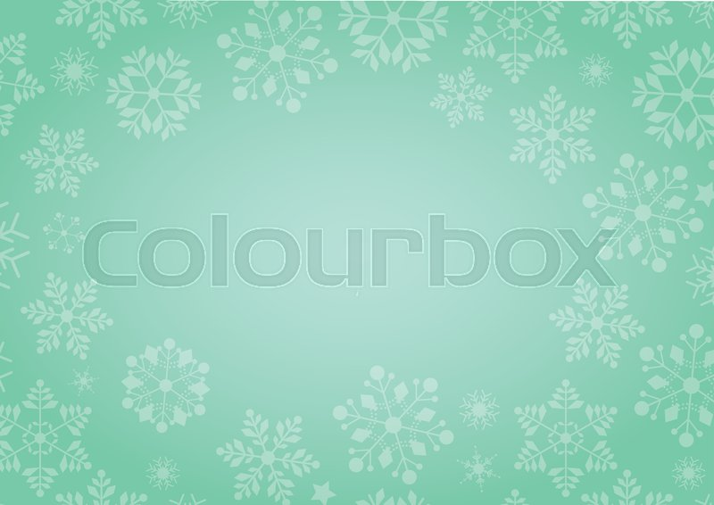800x566 The Gradient Green Winter Background With Snowflake Border Stock