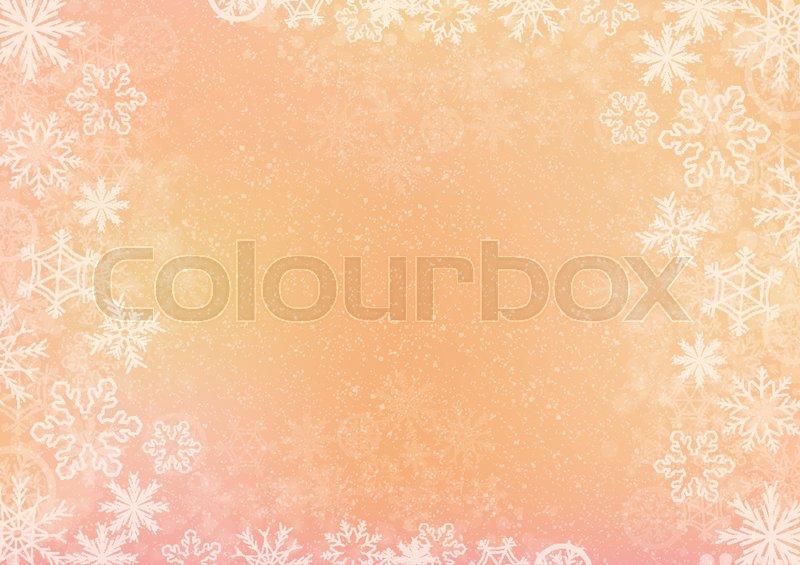 800x565 The Orange Elegant Winter Background With The Snowflake Border