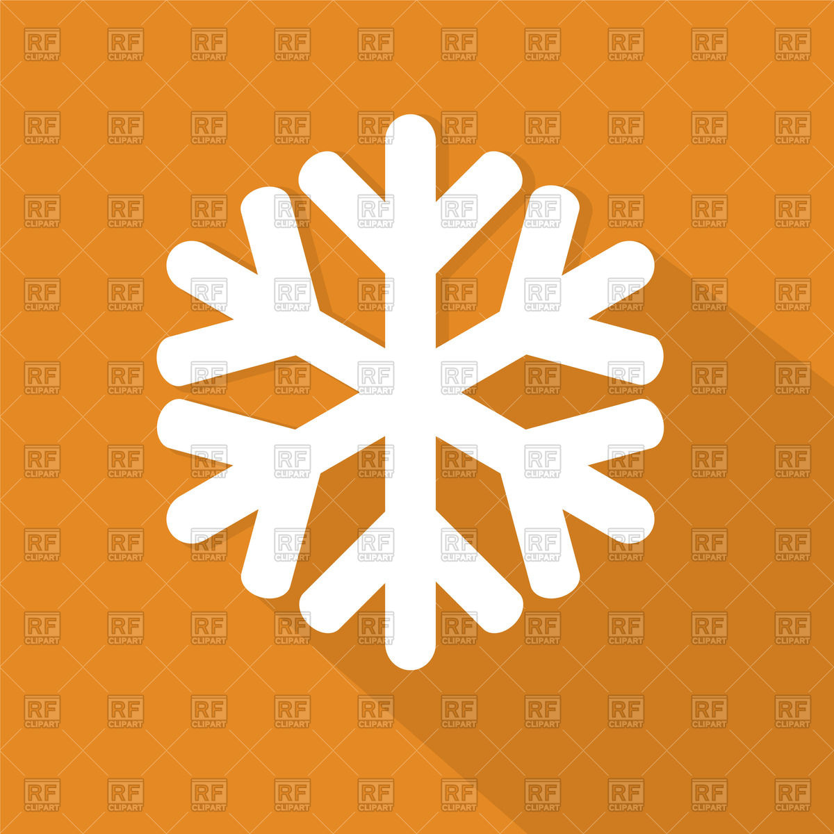 1200x1200 Snowflake Icon On Orange Background Vector Image Vector Artwork