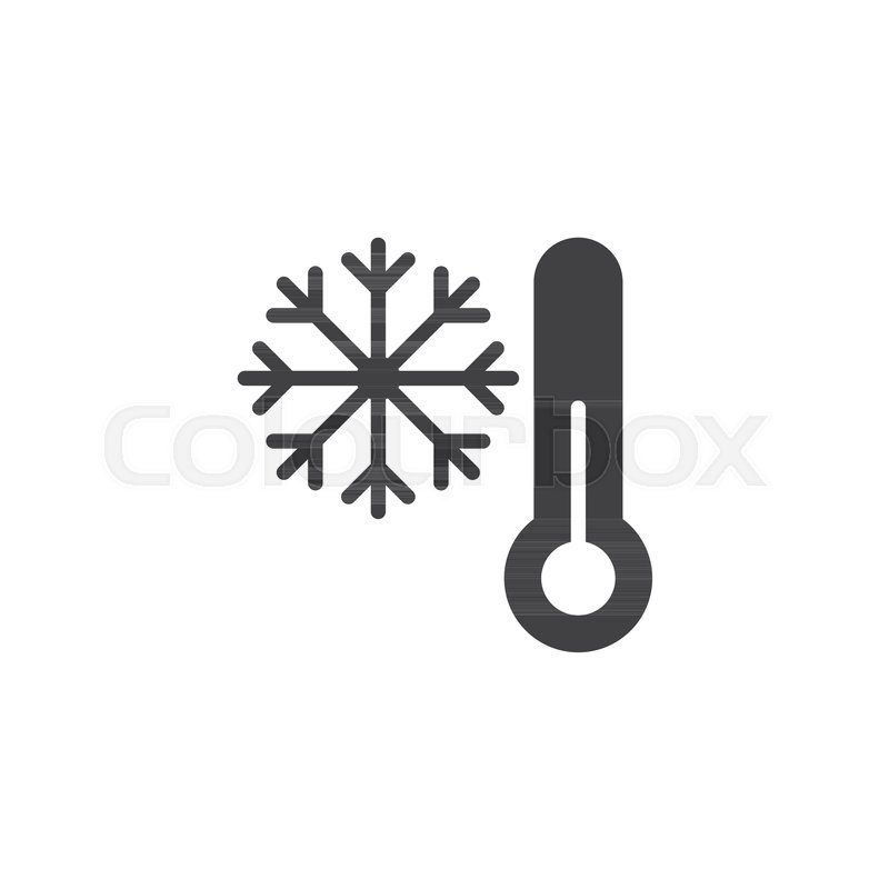 800x800 Thermometer And Snowflake Icon Vector, Filled Flat Sign, Solid