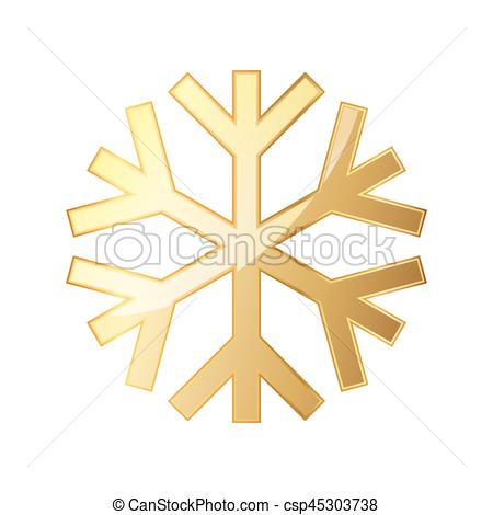 450x470 Gold Snowflake Icon. Vector Illustration. Gold Snowflake Icon
