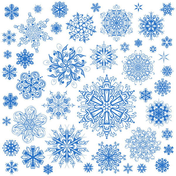 600x600 Different Snowflake Patterns Design Elements Vector Free Vector In