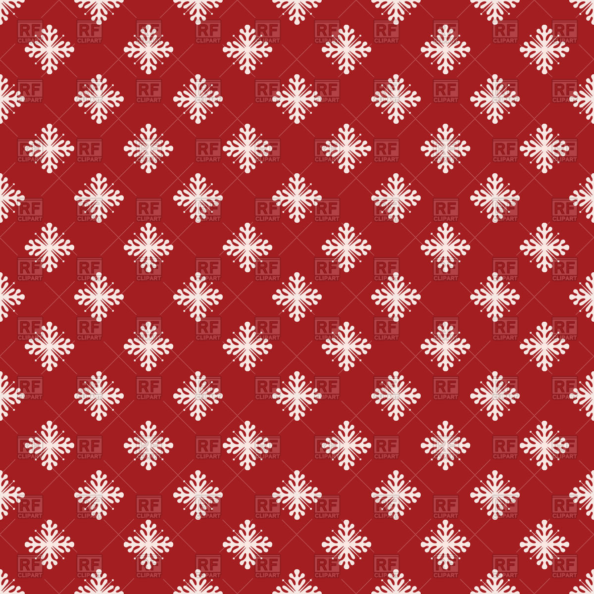 1200x1200 Seamless Snowflake Pattern On Red Background Vector Image Vector