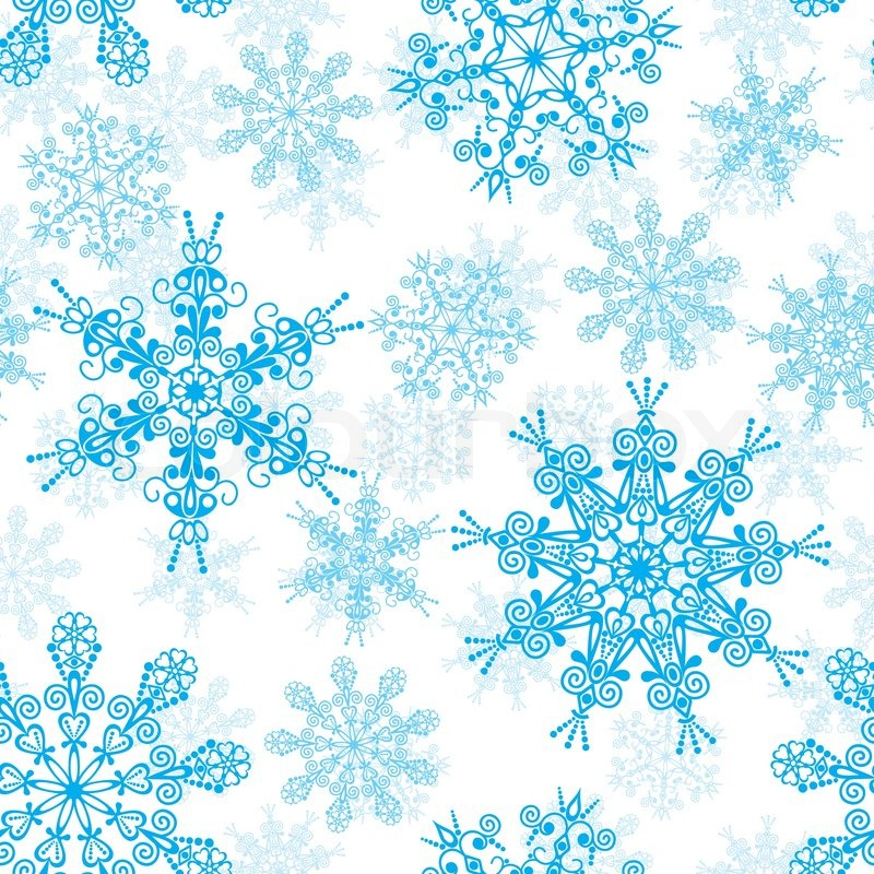800x800 Seamless Snowflakes Pattern, Vector Illustration Stock Vector