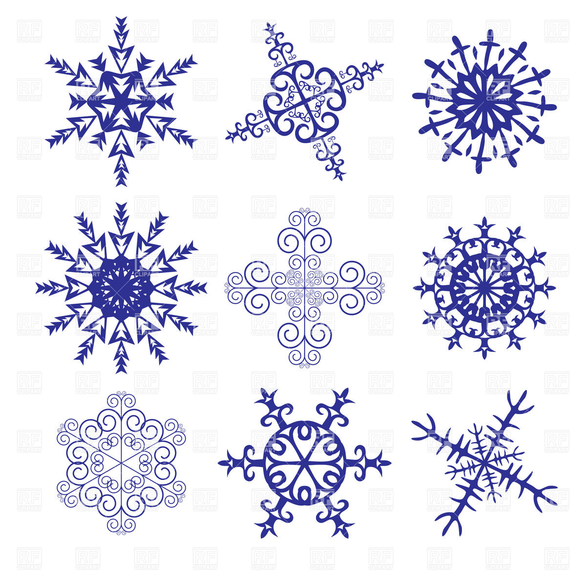 1200x1200 Blue Ornate Snowflakes Patterns Vector Image Vector Artwork Of