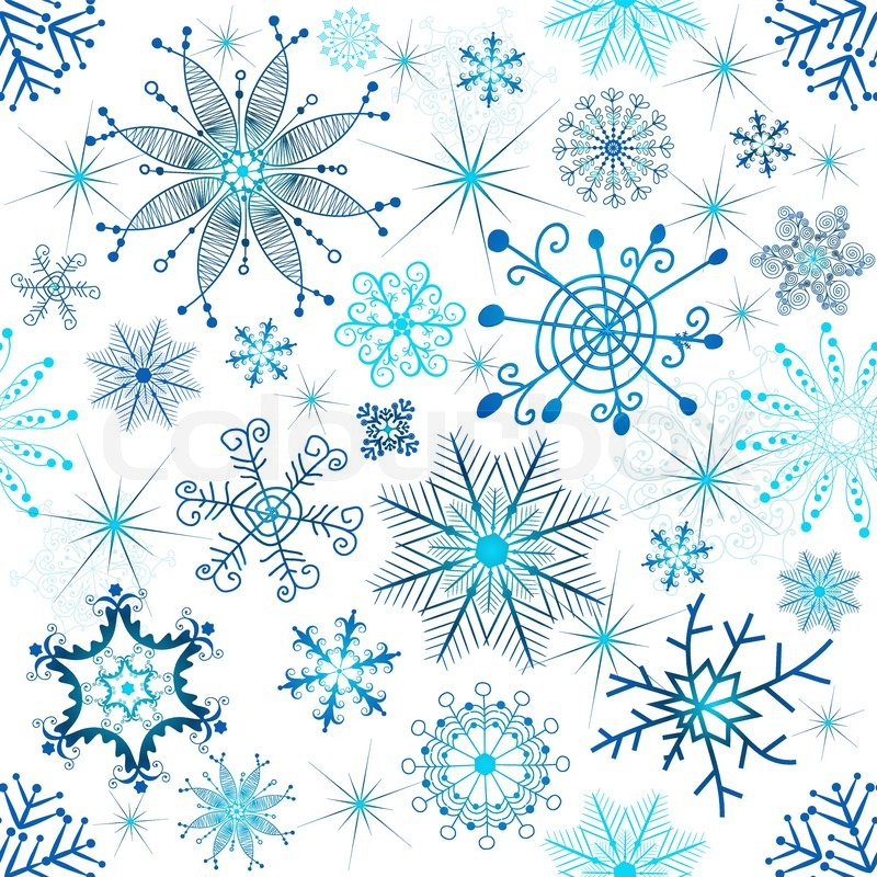 800x800 Christmas Seamless White Pattern With Blue Snowflakes Vector