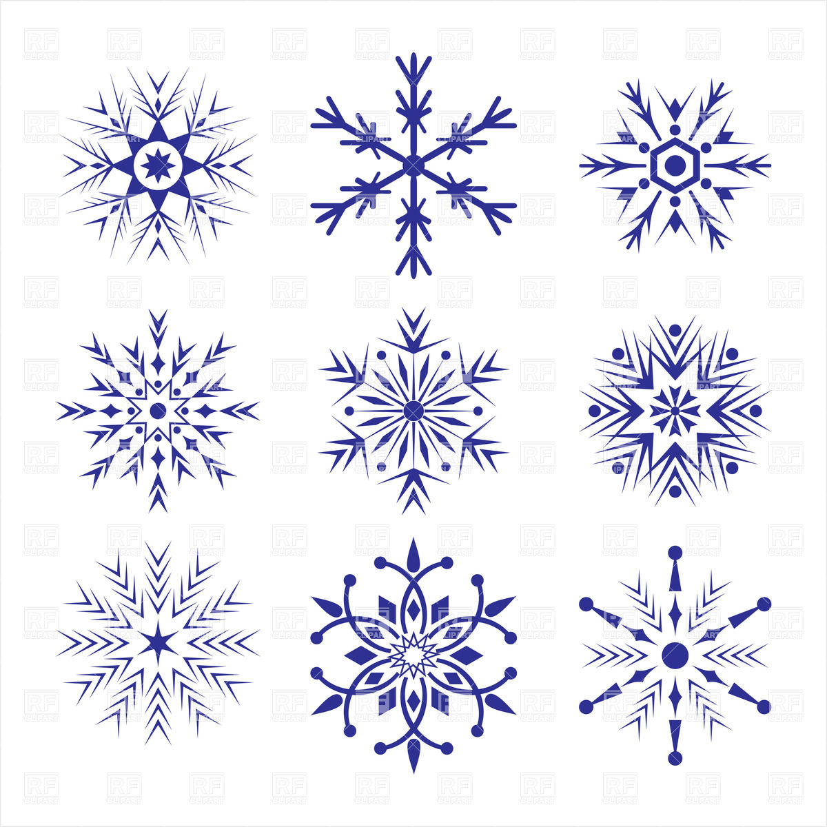 1200x1200 Ornate Snowflakes Vector Image Vector Artwork Of Design Elements