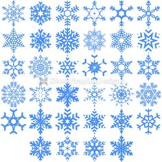 236x236 Set Of Snowflakes Isolated On White Tattoos Vector