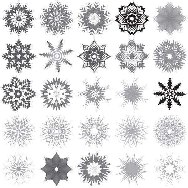 600x600 30 Snowflakes Free Vector Art 123freevectors