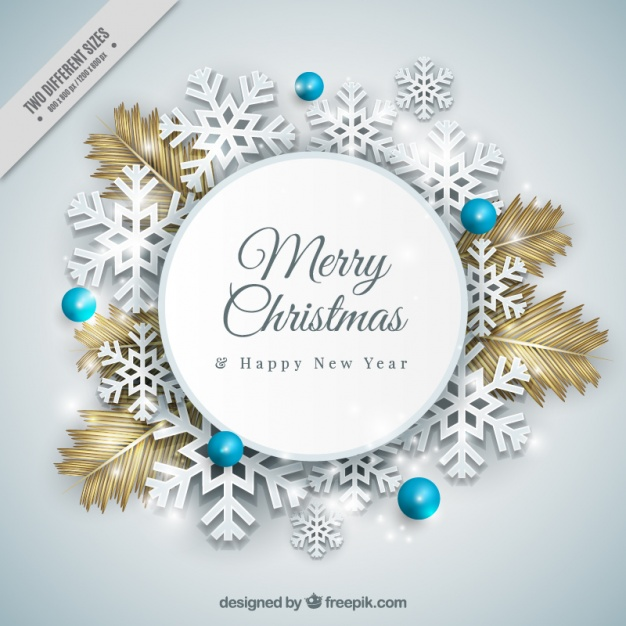626x626 Pretty Realistic Christmas Wreath With Snowflakes Vector Free