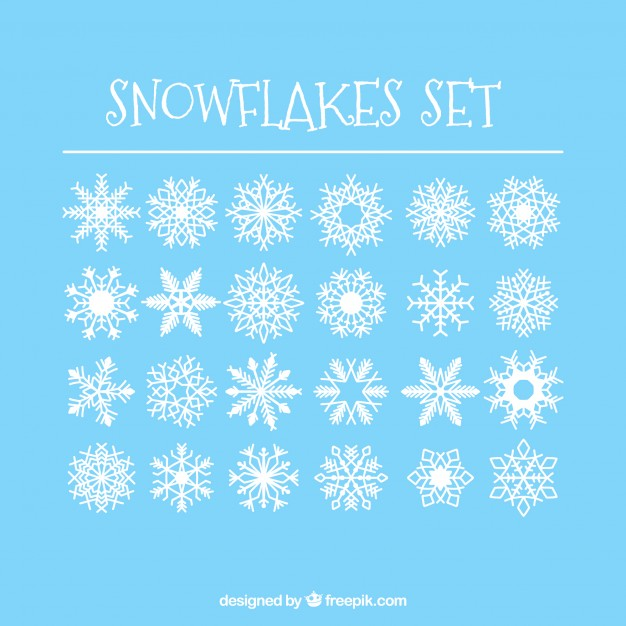 626x626 24 Simple Snowflakes Set Vector Free Download