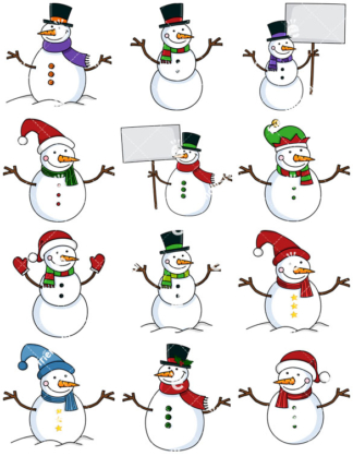 324x418 Cute Snowman With Hat And Christmassy Scarf Cartoon Vector Clipart