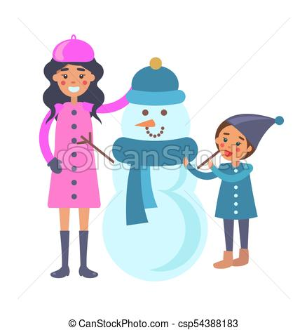 438x470 Mother And Child Makes Snowman Vector Illustration. Mother And