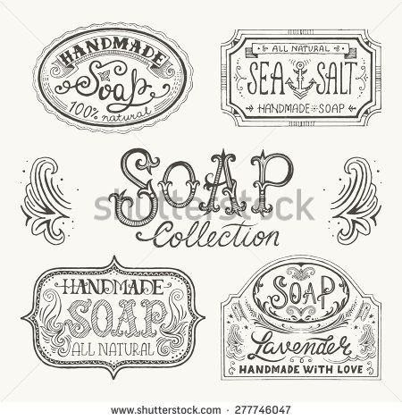 450x470 Hand Drawn Labels And Patterns For Handmade Soap Bars. Vector