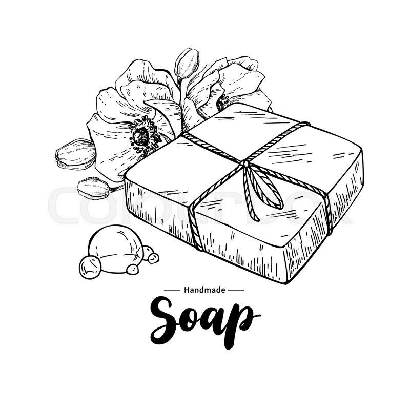 800x800 Handmade Natural Soap. Vector Hand Drawn Illustration Of Organic