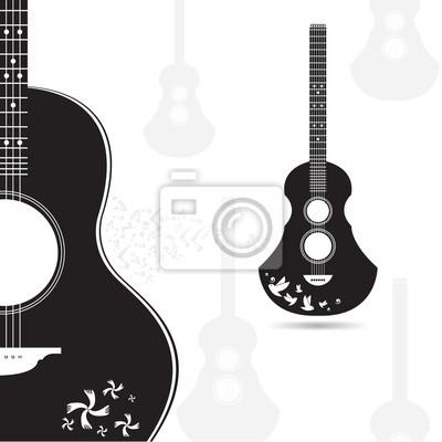 400x400 Guitarra Vector Negro Y Gris Sobre Fondo Blanco Vinilos Para