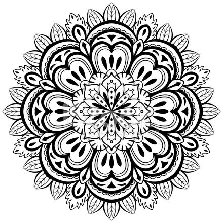 440x440 Vector, Mandala Abstracto Sobre Un Fondo Blanco Stock Vector