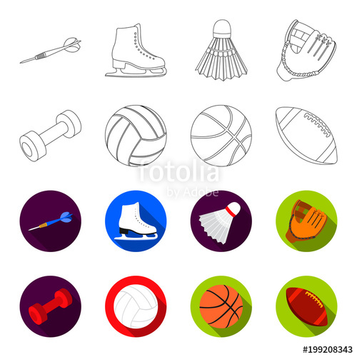 500x500 Blue Dumbbell, White Soccer Ball, Basketball, Rugby Ball. Sport