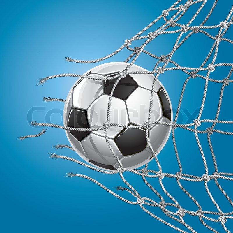 800x800 Soccer Goal. Soccer Ball Or Football Breaking Through The Net Of
