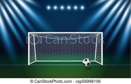 450x289 Soccer Goal And Football With Spotlight Background In Stadium