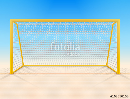 500x379 Beach Soccer Goal Post With Net, Front View. Beach Football Goal