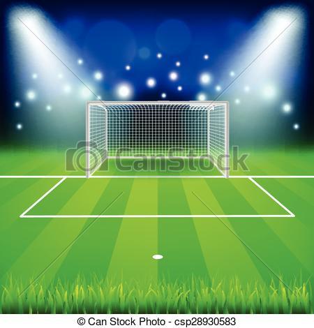 450x470 Soccer Goal On Field Vector Background. Soccer Goal On Field Photo