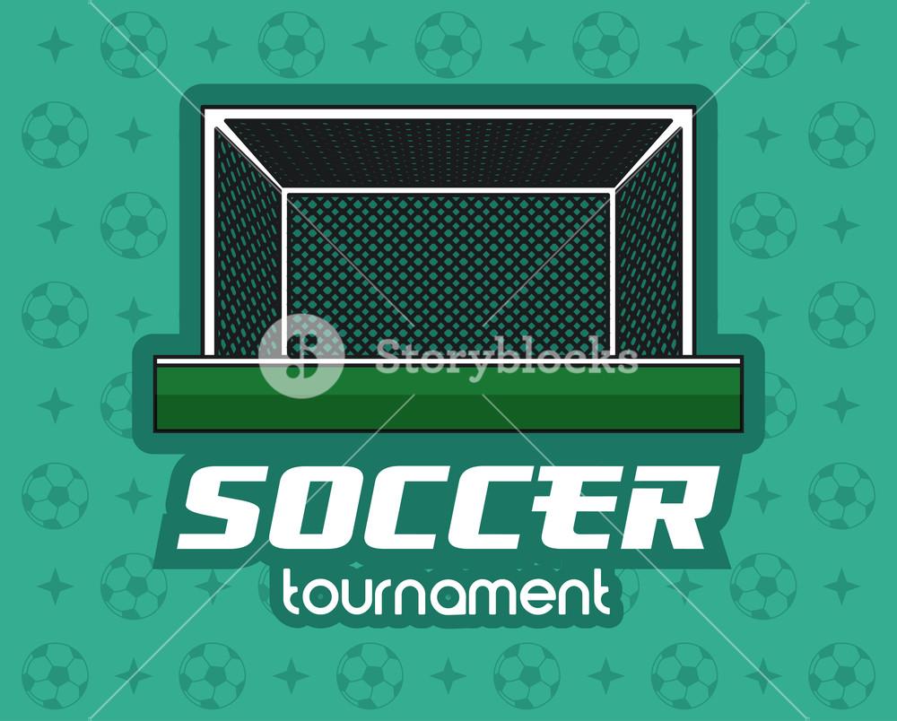 1000x804 Soccer Goal Over Green Background Vector Illustration Graphic