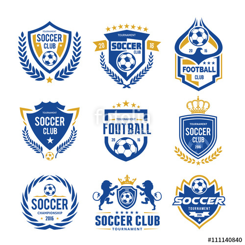 500x500 Football And Soccer College Vector Logo Set Template Stock Image