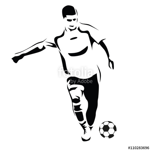 500x500 Soccer Player Vector Silhouette. Running Football Player. Kick T