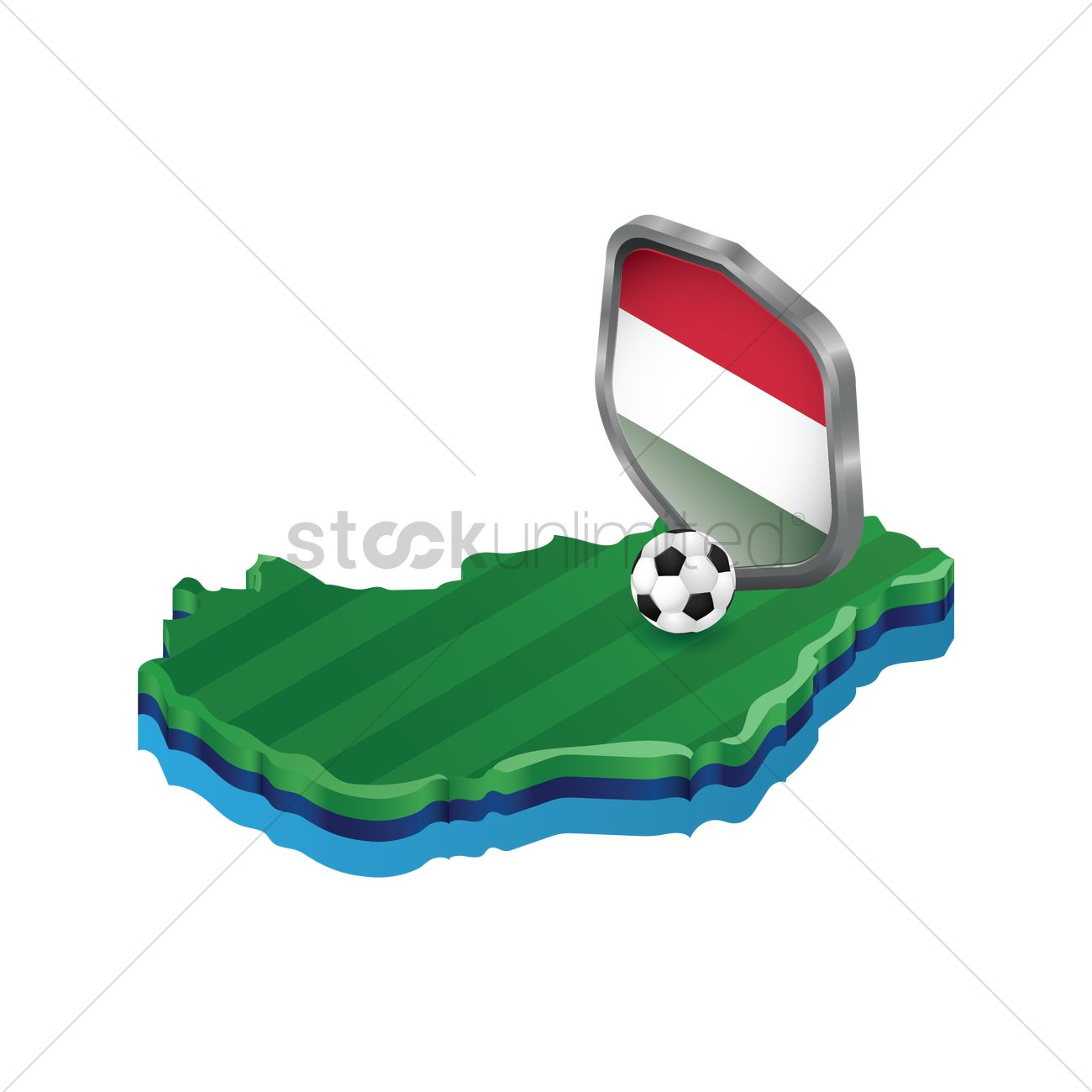 1300x1300 Hungary Map With Soccer Ball And Shield Vector Image