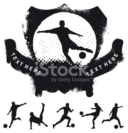 424x440 Soccer Shield With Many Players Shooting The Ball Stock Vector