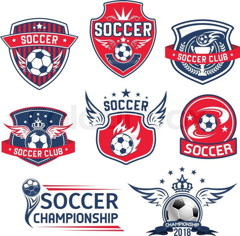 800x786 Soccer Club Badges Or Football Championship Cup Icons Set. Vector