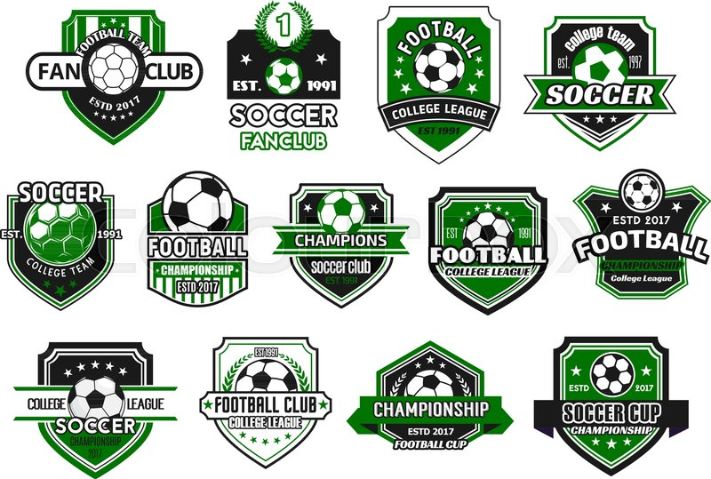 800x539 Soccer Sport Club And Football Team Shield Badge Set. Soccer Ball