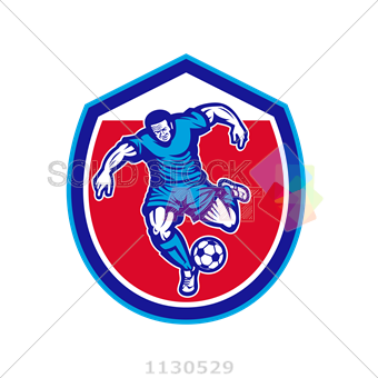 340x340 Stock Illustration Of Vector Frontal Soccer Player Kicking Ball