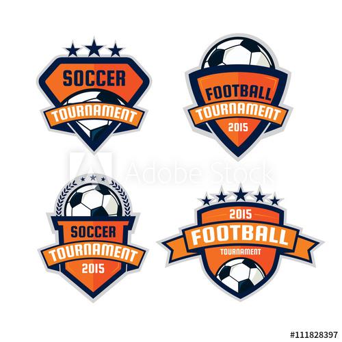 500x500 Set Of Football Logo Design , Soccer Shield , Vector Illustrati