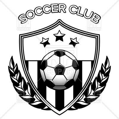 400x400 Black And White Footbal Emblem With Soccer Ball, Soccer Club Logo