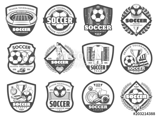 500x375 Football Or Soccer League Heraldic Shield Badge Stock Image And