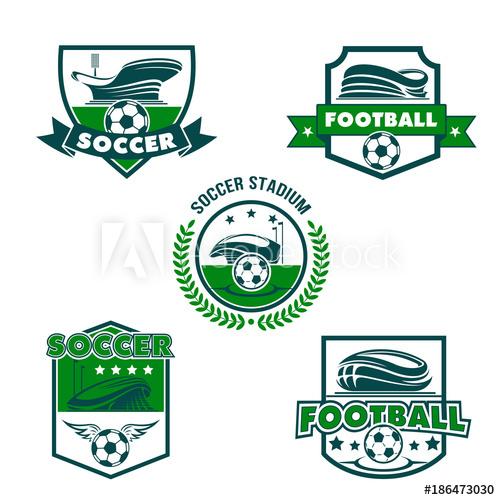 500x500 Football Stadium With Soccer Ball Shield Badge