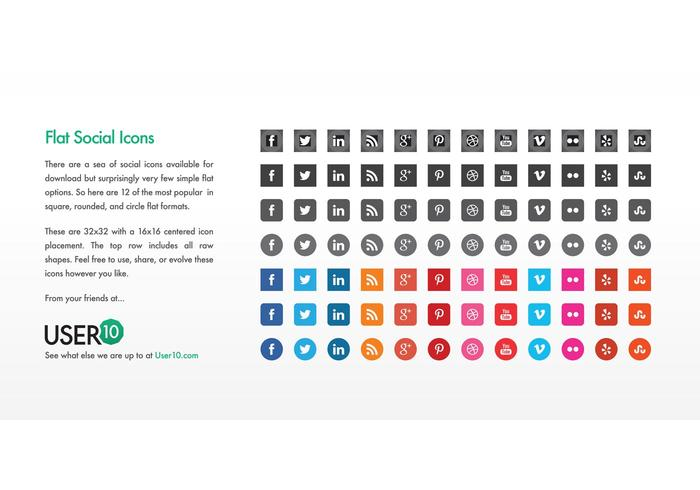 700x490 Flat Vector Social Icons (Eps)