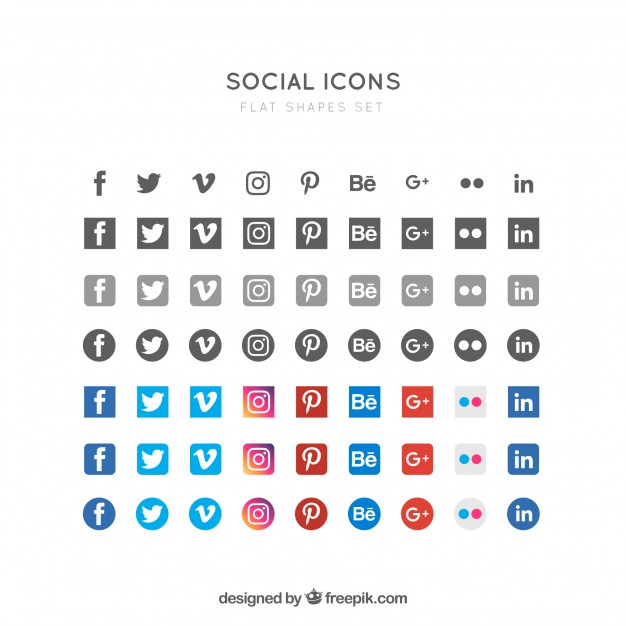 626x626 Flat Social Icons Vector Free Download