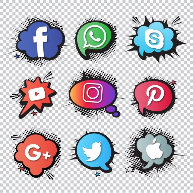 640x640 Set Of Social Icons, Comic Style, Discussion, Dot Png And Vector