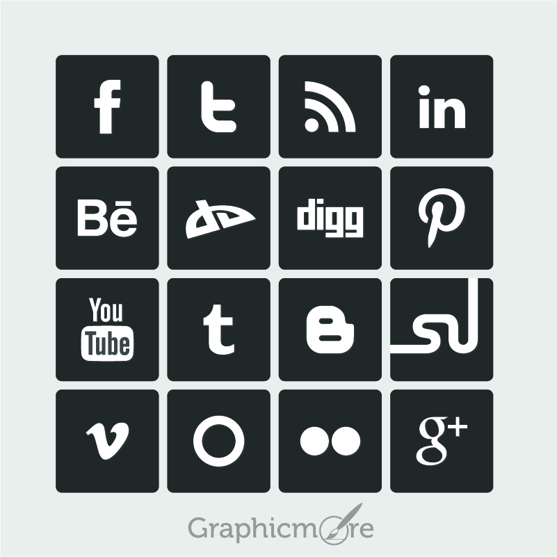 801x801 Simple Social Media Icons Free Vector Design