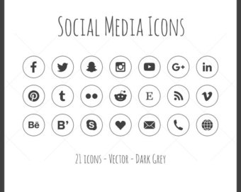 340x270 Vector Social Media Icons 21 Icons Dark Gray Solid Icon Etsy