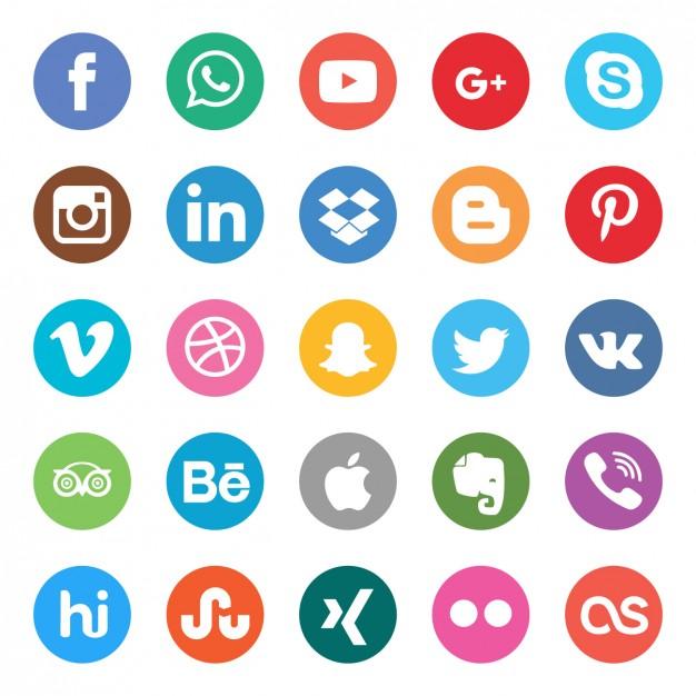 626x626 Colors Social Buttons Set Vector Free Download