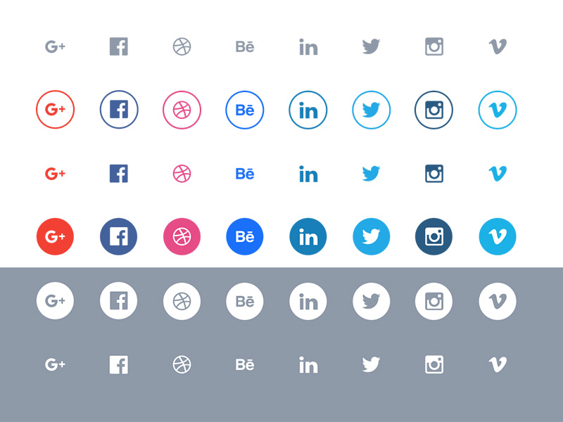 800x600 Flat Social Icons Set Sketch Freebie