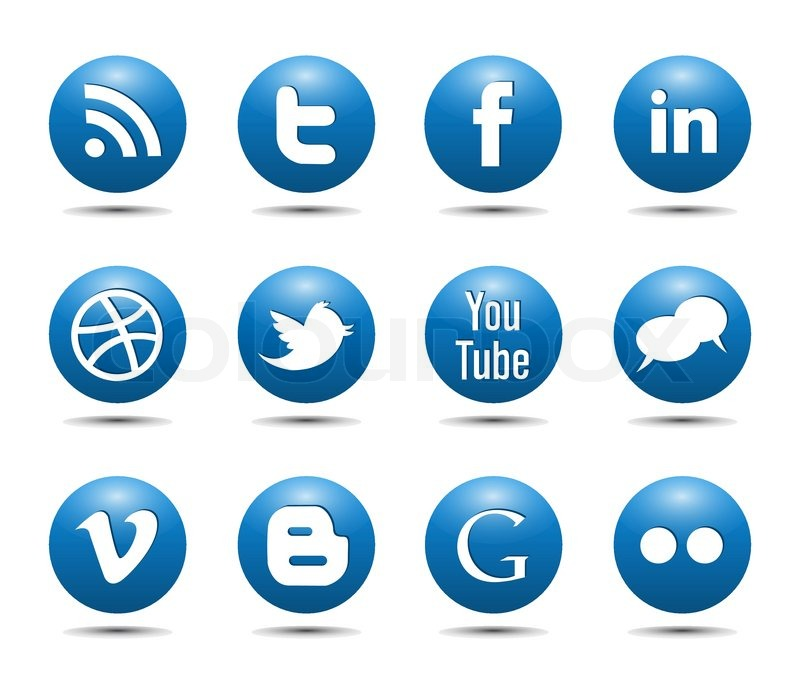 800x686 Blue Social Media Icons Glossy Buttons Vector Stock Vector