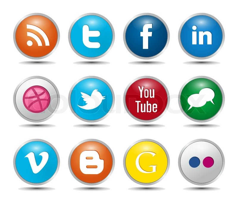800x686 Color Social Media Icons Glossy Buttons Stock Vector Colourbox
